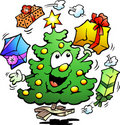 Illustration of an Christmas Who Juggle Gifts Stock Images