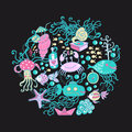 Illustration of circle made of sea life elements bright summer outlines from things fish crab octopus submarine weed Stock Photo