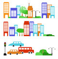 Illustration city street isolated white Royalty Free Stock Images