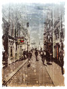 Illustration of city street watercolor style Royalty Free Stock Image