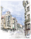 Illustration of city street watercolor style Royalty Free Stock Images