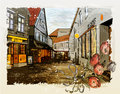 Illustration of city street watercolor style vintage Stock Image