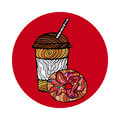 Illustration of a coffe or tea and donat cake. For greeting card