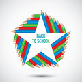 Illustration of a color pencils star frame. Royalty Free Stock Photo