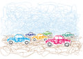 An illustration with colored cars drawing sketch Stock Images