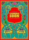 Colorful Coming Soon banner in truck art kitsch style of India Royalty Free Stock Photo