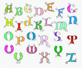 Illustration of colorful funky alphabet Stock Images