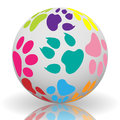 Illustration of colorful paw prints on the ball Stock Images