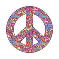 Illustration of colorful peace symbol on white background Royalty Free Stock Photo