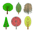 Illustration of colorful trees in the set on a white background Royalty Free Stock Photo