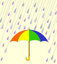 Illustration with colorful umbrella and raindrops