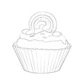 Illustration: Coloring Book Series: Cake. Soft thin line. Royalty Free Stock Photo