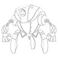 Illustration: Coloring Book Series: Robot. Soft thin line. Royalty Free Stock Photo