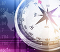 Illustration of compass and world map on colorful Royalty Free Stock Photo