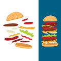Illustration of the composition of a cheeseburger for printing advertising brochure website web Royalty Free Stock Photos
