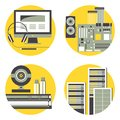 Illustration with Computer, Server Hardware, Peripherals and Computer Accessories. Royalty Free Stock Photo
