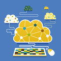 Illustration concept of cloud computing flat design Royalty Free Stock Image