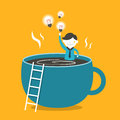 Illustration concept of coffee and idea flat design vector Royalty Free Stock Image