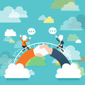Illustration concept of communication bridge flat design vector Stock Photos