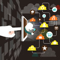 Illustration concept of explore cloud network flat design vector Stock Photo