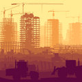 Illustration of construction site with crane and building horizontal vector cranes skyscraper under tractors bulldozers Royalty Free Stock Images