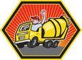 Illustration of a construction worker driver driving a cement truck done in cartoon style Stock Images