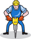Illustration of a construction worker with jack hammer pneumatic drill done in cartoon style Royalty Free Stock Photo