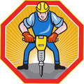 Illustration of a construction worker with jack hammer pneumatic drill done in cartoon style set inside hexagon Royalty Free Stock Photos