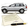 Illustration of the contract of insurance in case of car traffic accident Stock Image
