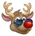 Cool Reindeer Christmas Cartoon Character Shades Royalty Free Stock Photo