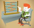 Illustration corporate guy sat his desk counting his abacus Royalty Free Stock Photography