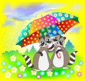 Illustration of couple of raccoons holding umbrella. Royalty Free Stock Photo
