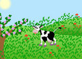 Illustration of cow on green meadow Royalty Free Stock Photos