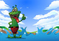 Illustration crazy frog thumb up nature background Royalty Free Stock Photos