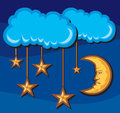 Illustration for a crescent moon with stars in night Stock Photo