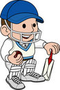 Illustration of cricketer Stock Images