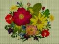 Illustration. Cross stitch. Bouquet, boutonniere.