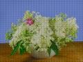 Illustration. Cross stitch. Still life, Bouquet