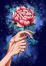 Illustration of crossed female hands holding a peony flower