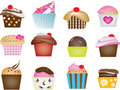 Illustration of cupcake set Royalty Free Stock Image