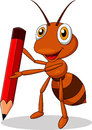 Cute ant cartoon holding a red pencil Royalty Free Stock Photo