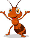 Illustration cute ant cartoon waving Royalty Free Stock Photo