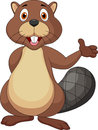 Illustration cute beaver cartoon waving hand Stock Image