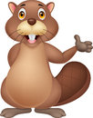 Illustration of cute beaver cartoon waving hand Royalty Free Stock Photo