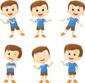 Illustration of cute boy cartoon character in many action