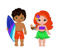 Illustration of cute boy with surfboard and Hawaiian girl with cocktail. Royalty Free Stock Photo