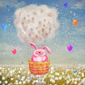 Illustration of cute bunny flying in air balloon