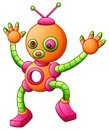 Cute cartoon dancing robot isolated on white background