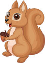 Illustration of cute cartoon squirrel holding acorn Stock Photo