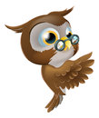 Illustration cute cartoon wise owl character glasses peeking round behind sign pointing showing what says Stock Photo